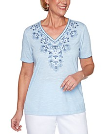Petal Pushers Embroidered Knit Top