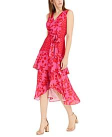 Printed V-Neck Midi Dress