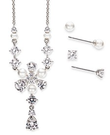 Silver-Tone Crystal & Imitation Pearl Flower Lariat Necklace & 2-Pc. Stud Earrings Set, Created for Macy's