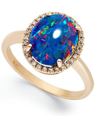 14k Rose Gold Ring Opal Triplet and Diamond 1 10 ct t w Oval