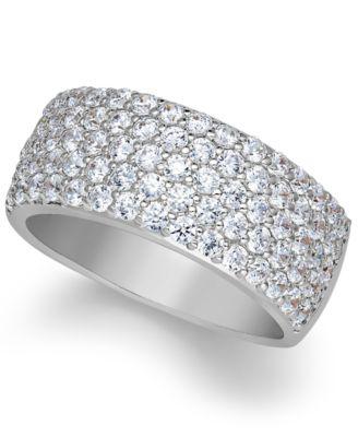 Arabella Sterling Silver Ring Swarovski Zirconia Pave Band Rings