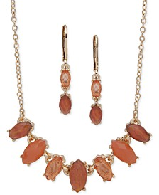 Gold-Tone Multi-Stone Collar Necklace & Drop Earrings Set