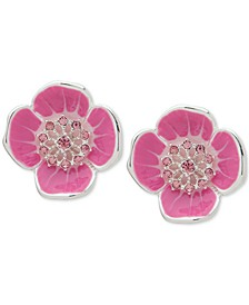 Crystal Flower Clip-On Button Earrings
