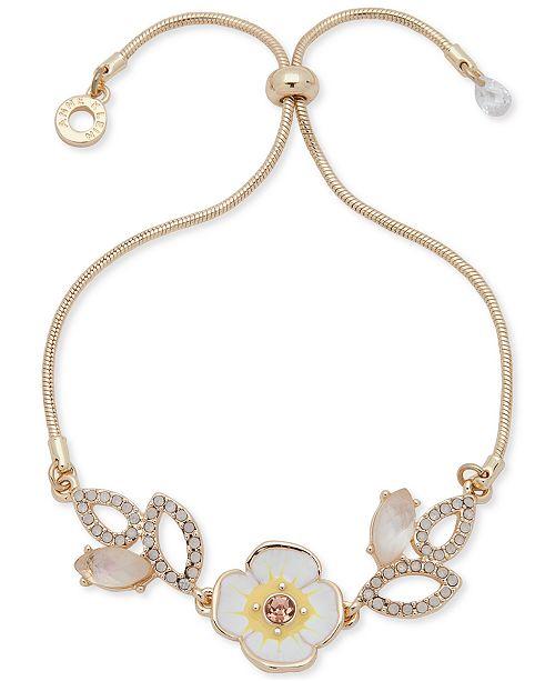 Anne Klein Crystal & Stone Flower Slider Bracelet