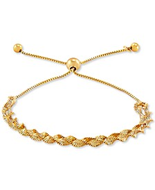 Twisted Herringbone Bolo Bracelet in 18k Gold-Plated Sterling Silver, Created for Macy's