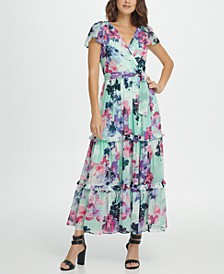 Flutter Sleeve Surplice Tiered Maxi Dress