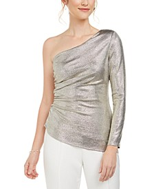 Metallic One-Shoulder Top