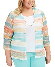 Plus Size Spring Lake Striped Layered-Look Top