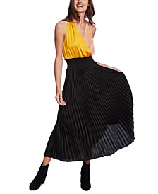 Colorblocked-Top Pleated Dress