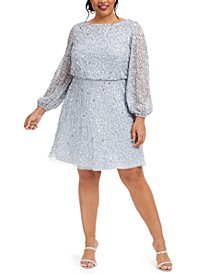 Plus Size Sequin A-Line Dress