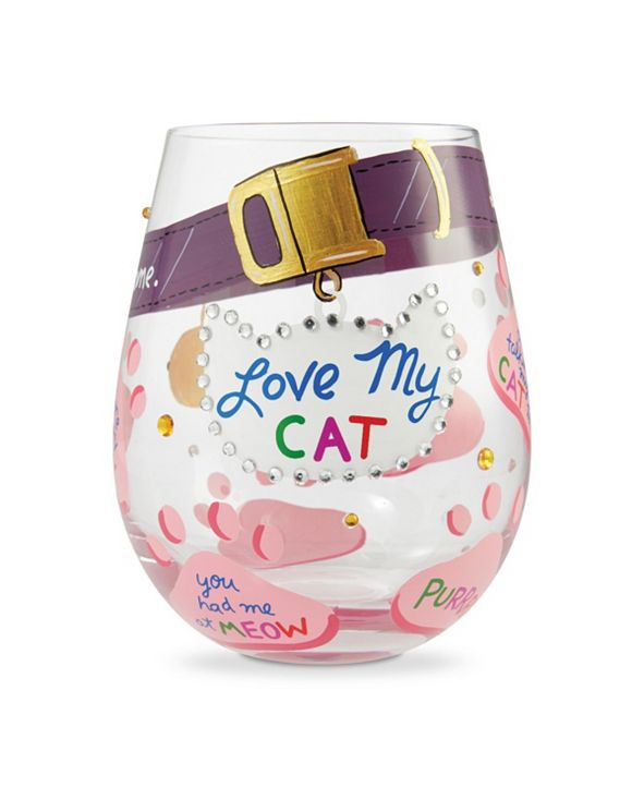 Enesco LOLITA Love My Cat Stemless Wine Glass
