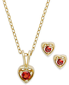 Children's Necklace and Earrings Set Collection in 18k Gold over Sterling Silver