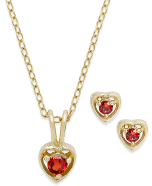 Children's 18k Gold over Sterling Silver Necklace and Earrings Set, January Birthstone Garnet Heart Pendant and Stud Earrings Set (1/4 ct. t.w.)