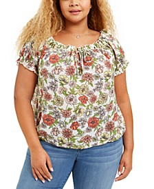 Trendy Plus Size Printed Ruffled Top