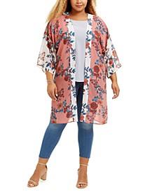 Trendy Plus Size Floral-Print Kimono