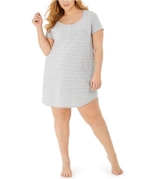 Charter Club Plus Size Cotton Sleep Shirt Nightgown, Created for Macy's