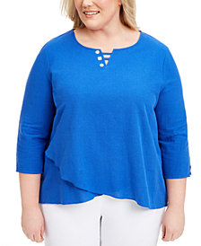 Alfred Dunner Plus Size Laguna Beach Cotton Button-Trim Top