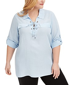 Plus Size Lace-Up Shirt