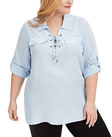 Calvin Klein Plus Size Lace-Up Shirt