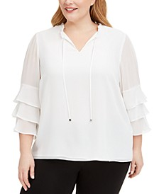 Plus Size Tiered-Ruffle Top