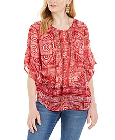 Abstract-Print Pintuck Blouse, Created for Macy's