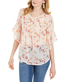 Sheer Pintuck Floral-Print Blouse, Created for Macy's