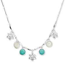 "Silver-Tone Stone & Flower Collar Necklace, 17""+ 2"" extender"