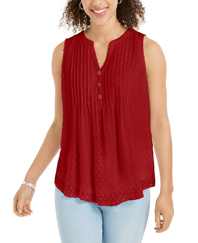 Charter Club Pleated Clip-Dot Top, Created for Macy's
