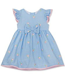 Baby Girls Embroidered Seersucker Dress with PomPom Trim