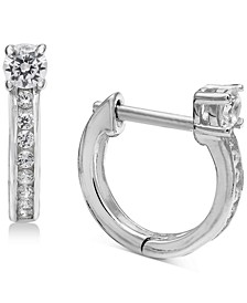 "Small Cubic Zirconia Huggie Hoop Earrings in Sterling Silver, 0.5"", Created for Macy's"