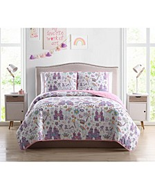 MHF Home Kids Unicorn Magic Castle Twin Quilt Set
