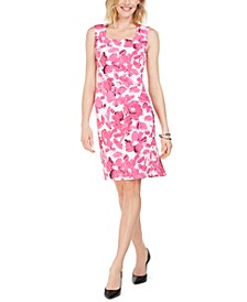 Brushstroke Floral Crepe Dress
