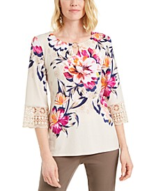 Printed Keyhole Crochet-Sleeve Top, Created for Macy's