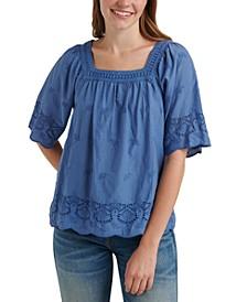 Cotton Lace-Trim Square-Neck Top