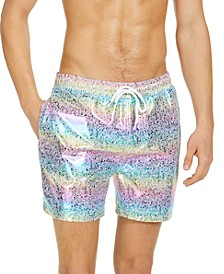 "INC Men's Mateo Foil Print 5"" Swim Trunks, Created for Macy's"