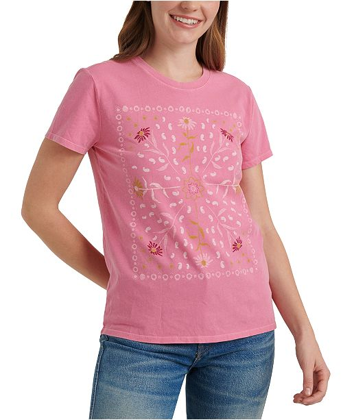 Lucky Brand Floral-Bandana-Graphic Cotton T-Shirt