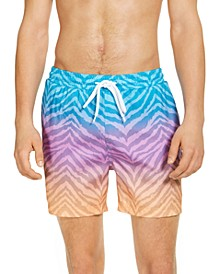 "INC Men's Diego Ombré Animal Stripe 5"" Swim Trunks, Created for Macy's"