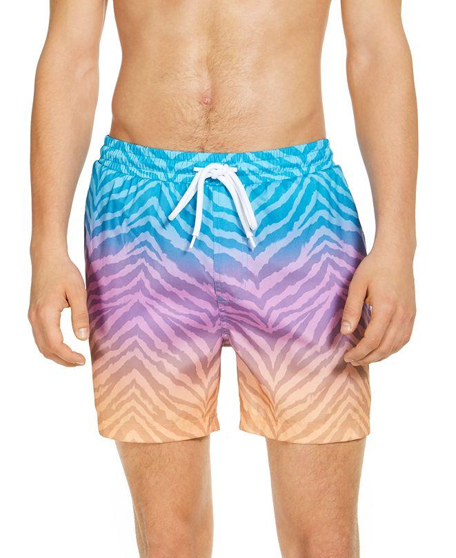 "INC International Concepts INC Men's Diego Ombré Animal Stripe 5"" Swim Trunks, Created for Macy's"