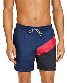 "INC Men's Splice Colorblock 5"" Swim Trunks, Created for Macy's"