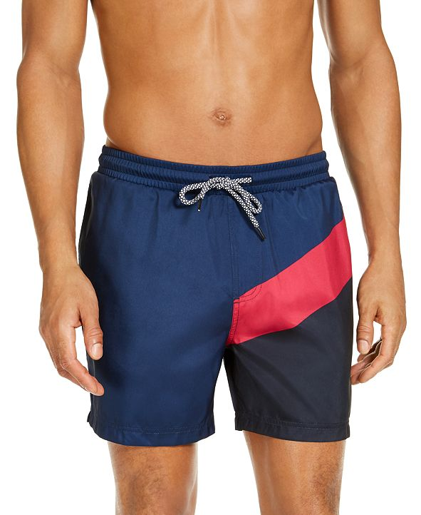 "INC International Concepts INC Men's Splice Colorblock 5"" Swim Trunks, Created for Macy's"