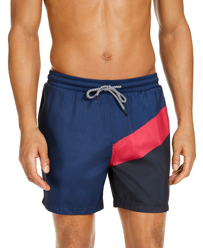 "INC International Concepts - Men's Splice Colorblock 5"" Swim Trunks"