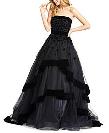 Strapless Velvet-Trim Tiered Ball Gown