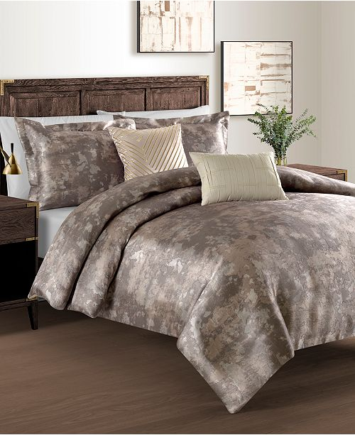 Sunham Metallic Jacquard 6-Pc. California King Duvet Cover with Filler Set