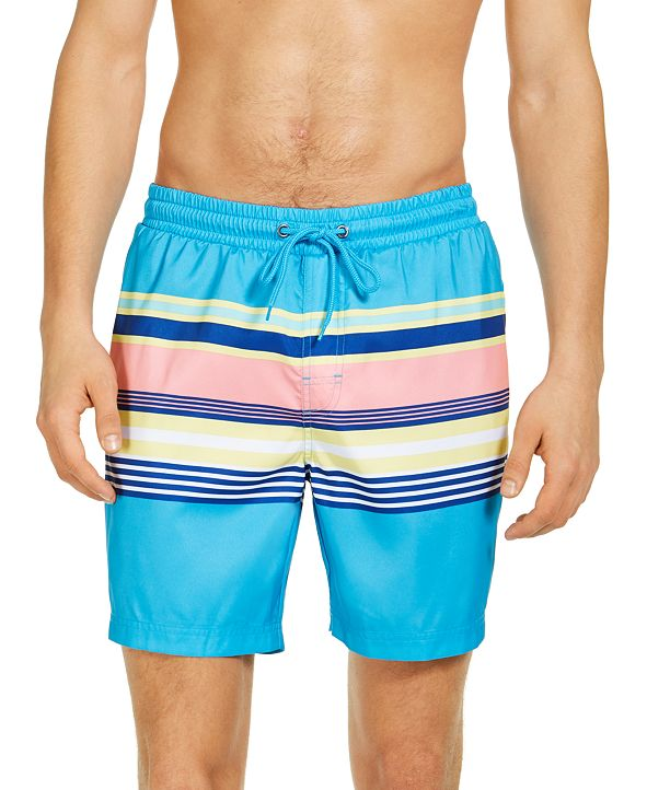 "Club Room Men's Skate Stripe 7"" Swim Trunks, Created for Macy's"