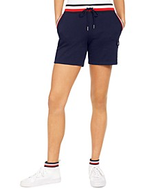 Contrast-Waist Drawstring Shorts