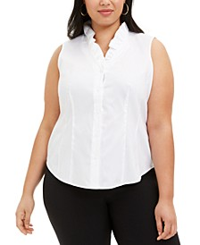 Plus Size Cotton Ruffled V-Neck Blouse
