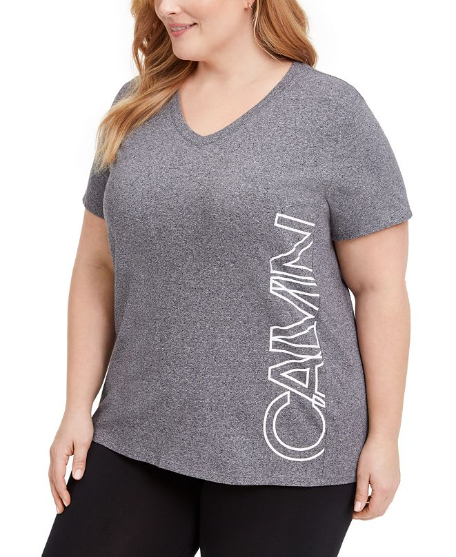 Calvin Klein Plus Size Logo V-Neck T-Shirt