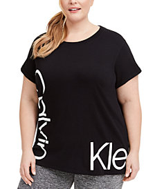 Calvin Klein Performance Plus Size Relaxed-Fit Logo T-Shirt
