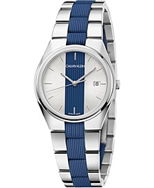 Women's Contrast Stainless Steel and Blue Silicone Bracelet Watch 34mm