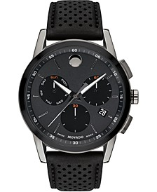 Men's Swiss Chronograph Museum Sport Black Leather Strap Watch 43mm